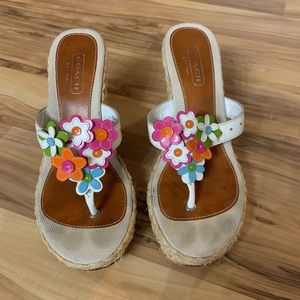 Coach Jessica floral wedge sandals size 6.5